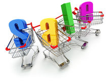 Sale concept. Shopping carts with text isolated on white. Royalty Free Stock Photo