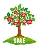 Sale concept: tree with discounts Royalty Free Stock Photography