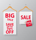 Sale concept .wire hanger with banner Stock Images