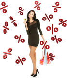 Sale concept. Woman with shoping bags. Isolated on white royalty free stock photography