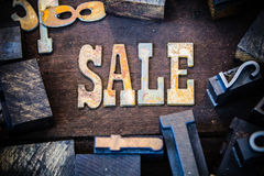 SALE Concept Wood and Rusted Metal Letters Stock Image