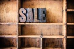 Sale Concept Wooden Letterpress Theme Stock Image