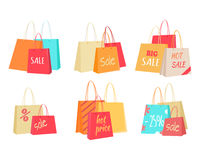 Sale Concepts with Paper Bags illustrations Set Royalty Free Stock Image