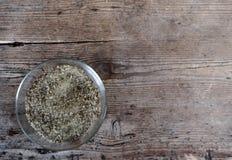 Sale condito con salvia e rosmarini, specialità toscana immagini stock