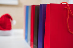 Sale, consumerism, advertisement and retail concept. Many colorful shopping bags Stock Photography