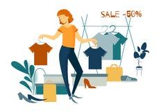 Sale, consumerism och folkbegrepp stock illustrationer