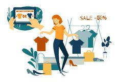 Sale, consumerism och folkbegrepp Den unga kvinnan shoping Online-shopping med smartphonen vektor illustrationer