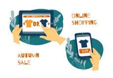 Sale consumerism, online-shoping begrepp royaltyfri illustrationer