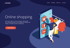 Sale, consumerism and people concept. Young woman shop online using smartphone. Landing page template. royalty free illustration