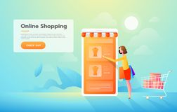 Sale, consumerism and people concept. Young woman shop online using smartphone. Landing page template. Vector isometric stock illustration