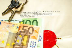 Sale contract for house or apartment with euro bank notes and keys Stock Photo