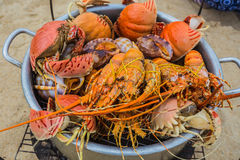 Sale of cooked seafood on the beach in Nha Trang Royalty Free Stock Photo