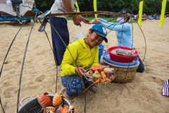 Sale of cooked seafood on the beach in Nha Trang Royalty Free Stock Images