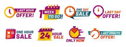 Sale countdown badges. Last minute offer banner, one day sales and 24 hour sale promo stickers vector set vector illustration