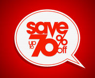 Sale coupon design save up to 70 percents off, speech bubble. Royalty Free Stock Images