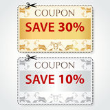 Sale Coupon, tag. Cut off template, gold pattern stock illustration