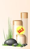Sale creams. Several bottles of lotions and creams Stock Photo