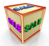 Sale cube Royalty Free Stock Photos