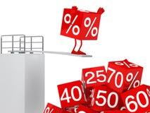 Sale cube figure jump royalty free illustration