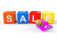 Sale cubes with pacifier Royalty Free Stock Photo