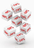 Sale cubes with percent discount Royalty Free Stock Photos