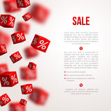 Sale cubes poster. Vector illustration Royalty Free Stock Photo
