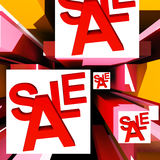 Sale On Cubes Showing Special Discounts Stock Image