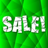 Sale Cut Paper Poster on green background Royalty Free Stock Photography