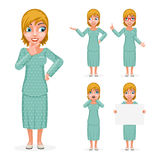 Sale Cute Surprised Smile Female Girl Woman Hand Decision Making Forefinger up Advice Cartoon Character Set Isolated Royalty Free Stock Image