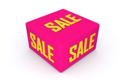 Sale 3d cube in pink color with white background, 3d illustration. Sale 3d cube in pink color with white background Royalty Free Stock Photo