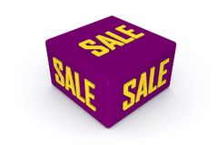 Sale 3d cube in purple color with white background. 3d illustration Royalty Free Stock Image