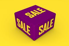 Sale 3d cube in purple color with yellow background. 3d illustration Royalty Free Stock Photos