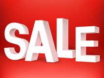 Sale 3D Letters on Red Background Stock Photo