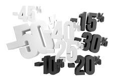 50% 45% 40% 30% 20% 15% 10% sale 3d render. Graphic Royalty Free Illustration