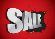 Sale 3d typografi som är bruten från den röda väggen Royaltyfria Bilder