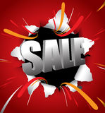 Sale 3d typography throw out on red background Stock Photo