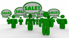 Sale Deal New Customers Speech Bubbles Green People Stock Photography