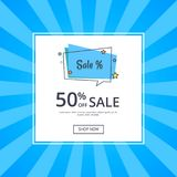 Sale Deals for You 50 Off Sale with Text Vector. Sale deals for you 50 off sale with inscription vector isolated on blue background with text. Template with shop Stock Image