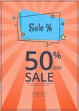 Sale Deals for You 50 Off Sale with Text Vector. Sale deals for you 50 off sale with inscription vector  on orange background with text. Template with shop now Stock Image