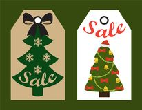 Sale Decorative Tags with Xmas Decorated Trees. Sale decorative tags with New Year evergreen Christmas trees hang stickers, shopping promotional labels vector illustration