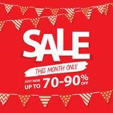 Sale denna månadöverskriftdesign för baner eller affisch Sale och di Fotografering för Bildbyråer
