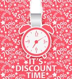 Sale design with alarm clock and percent background Stock Image