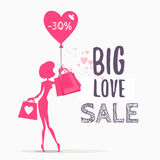 Sale design concept with woman holding shopping bags. Stock Photography