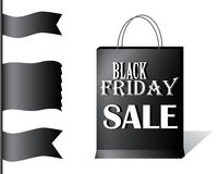 Sale  design elements with shopping bag. Black Friday sales shopper with ribbon banners for text. Royalty Free Stock Image