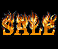 Sale Design with Fire. Hot Sale. Vector illustration Stock Photos