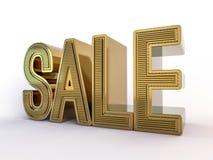 Sale, design for sale, stylish golden letters on a white background. 3D render vector illustration