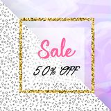 Sale design template for banner, flyer, poster, with marble texture and gold detail. Mempis pattern Clearance Sale. Square Pink and blue Banner Template with royalty free illustration