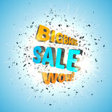 Sale design template . Bigbang Sale Poster with explosion cloud of black pieces. Wow. Stock Photos