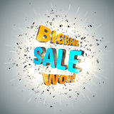 Sale design template . Bigbang Sale Poster with explosion cloud of black pieces. Wow. Stock Photo