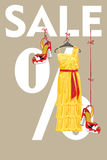 Sale design template.Yellow party dress and high h Royalty Free Stock Images